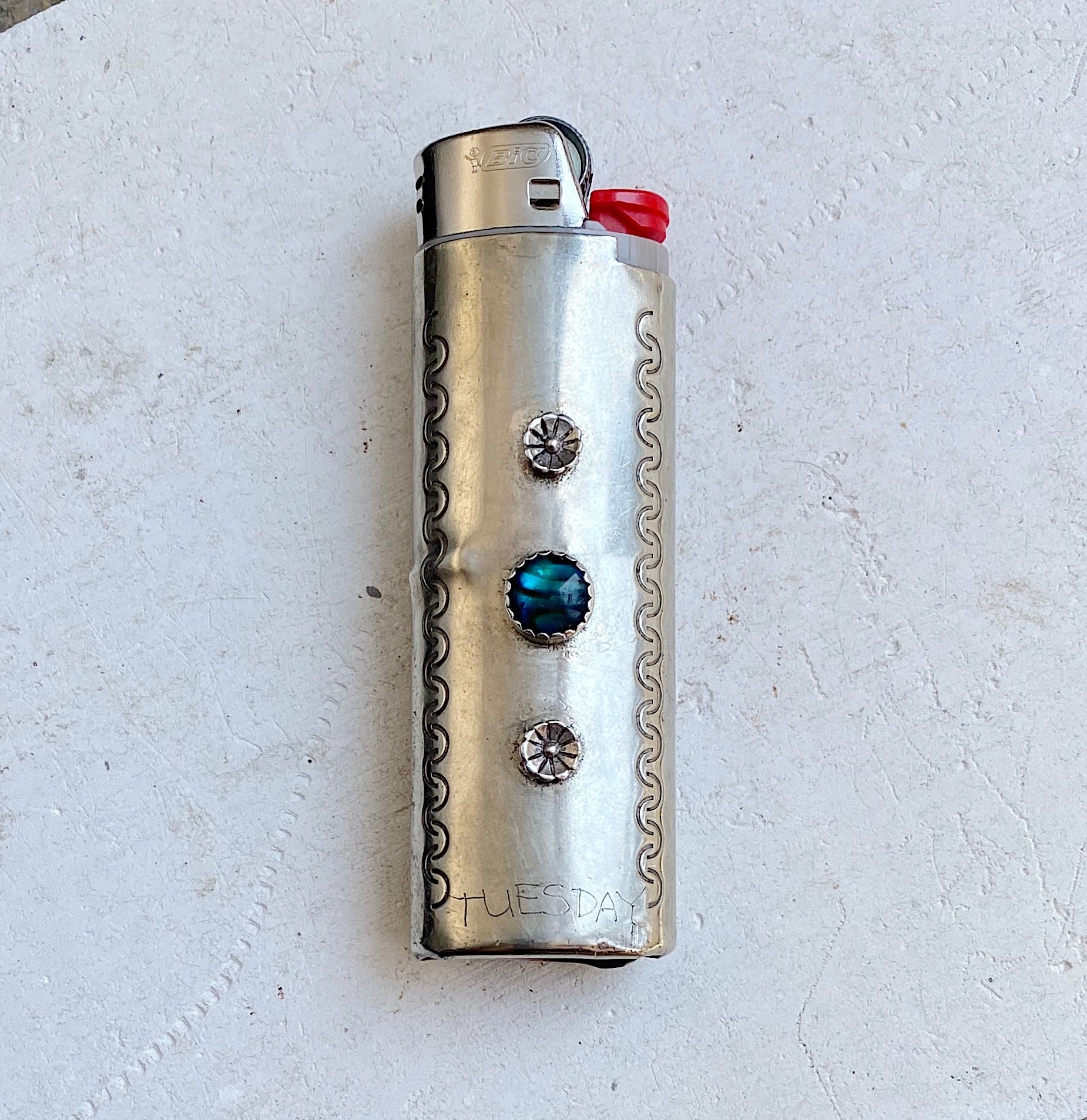 Vintage Nickel Silver Lighter Sleeve with Blue Tiger Eye