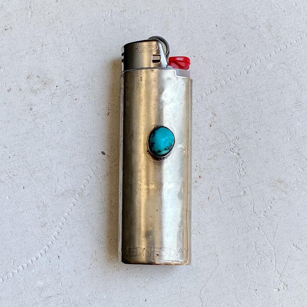 Vintage Nickel Silver Lighter Sleeve with Turquoise