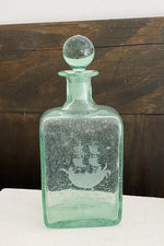 Antique Large Green Blown Glass Decanter with Etched Ship