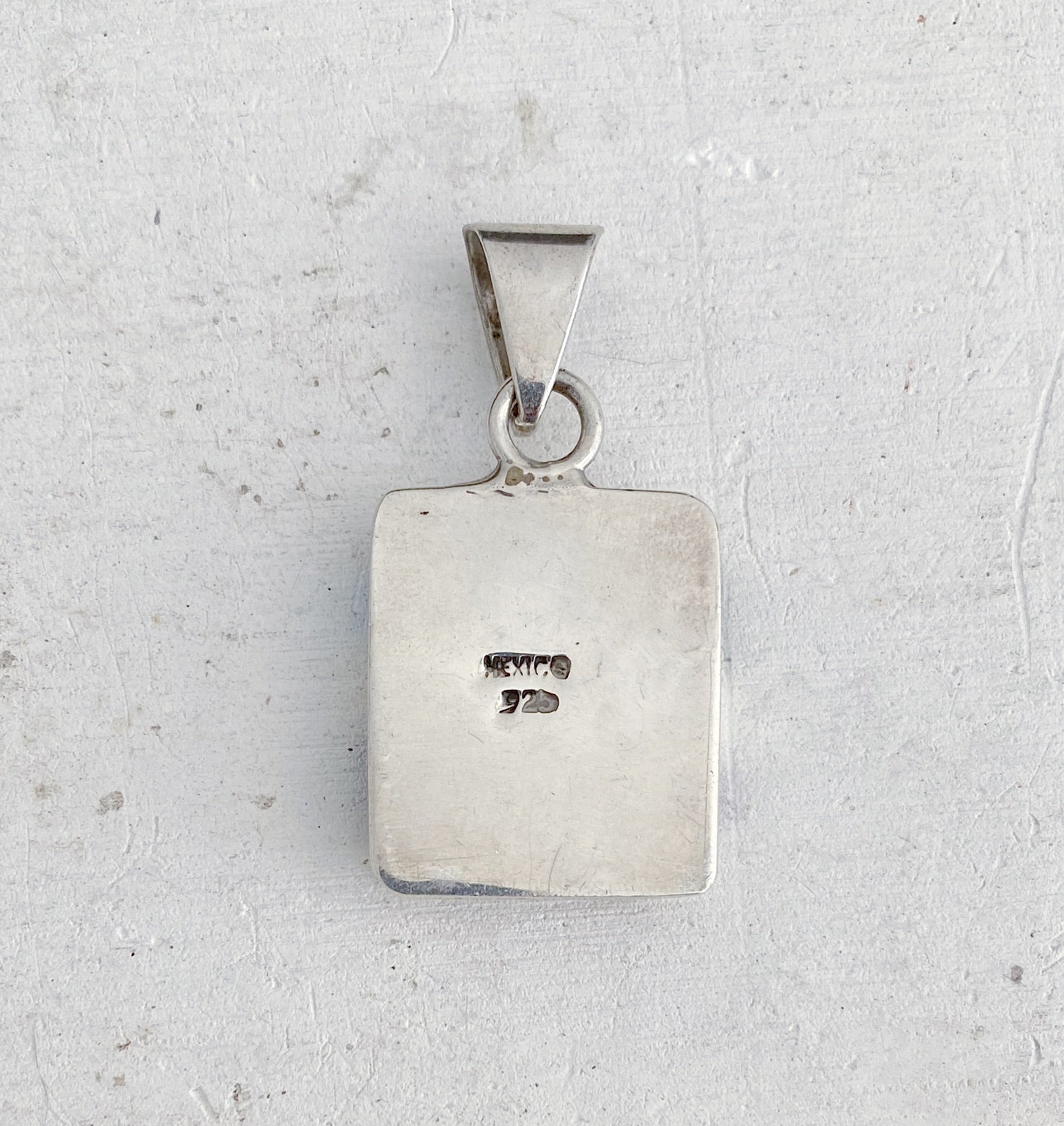 Vintage Mexican Silver Modernist Inlay Pendant