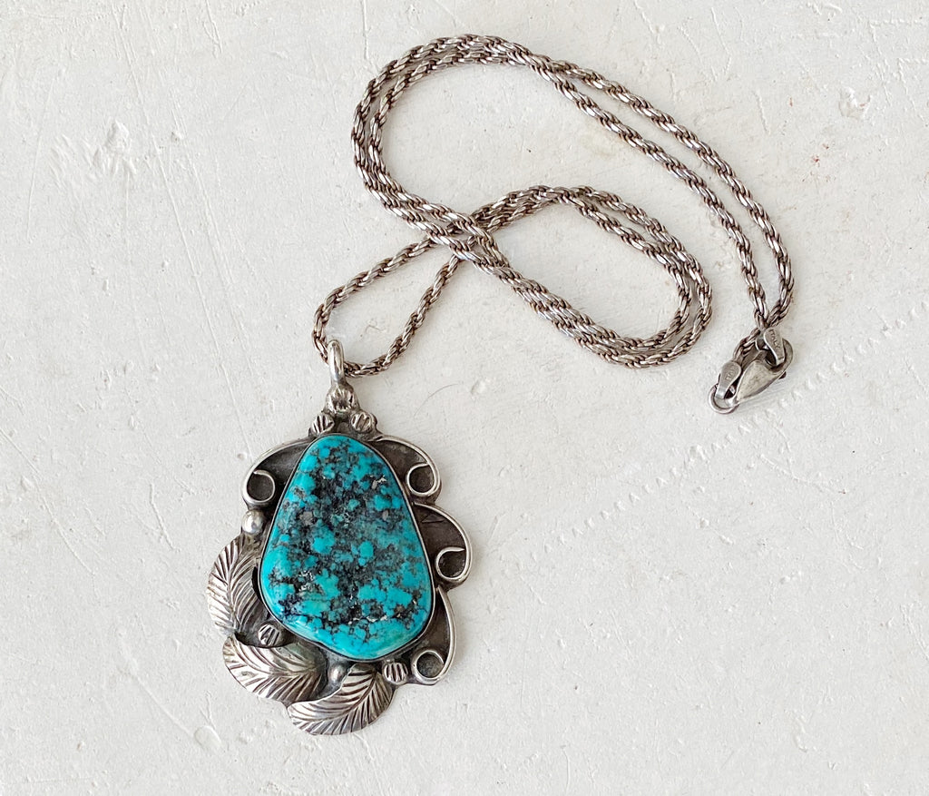 Vintage Sterling Silver and Turquoise Nugget Pendent