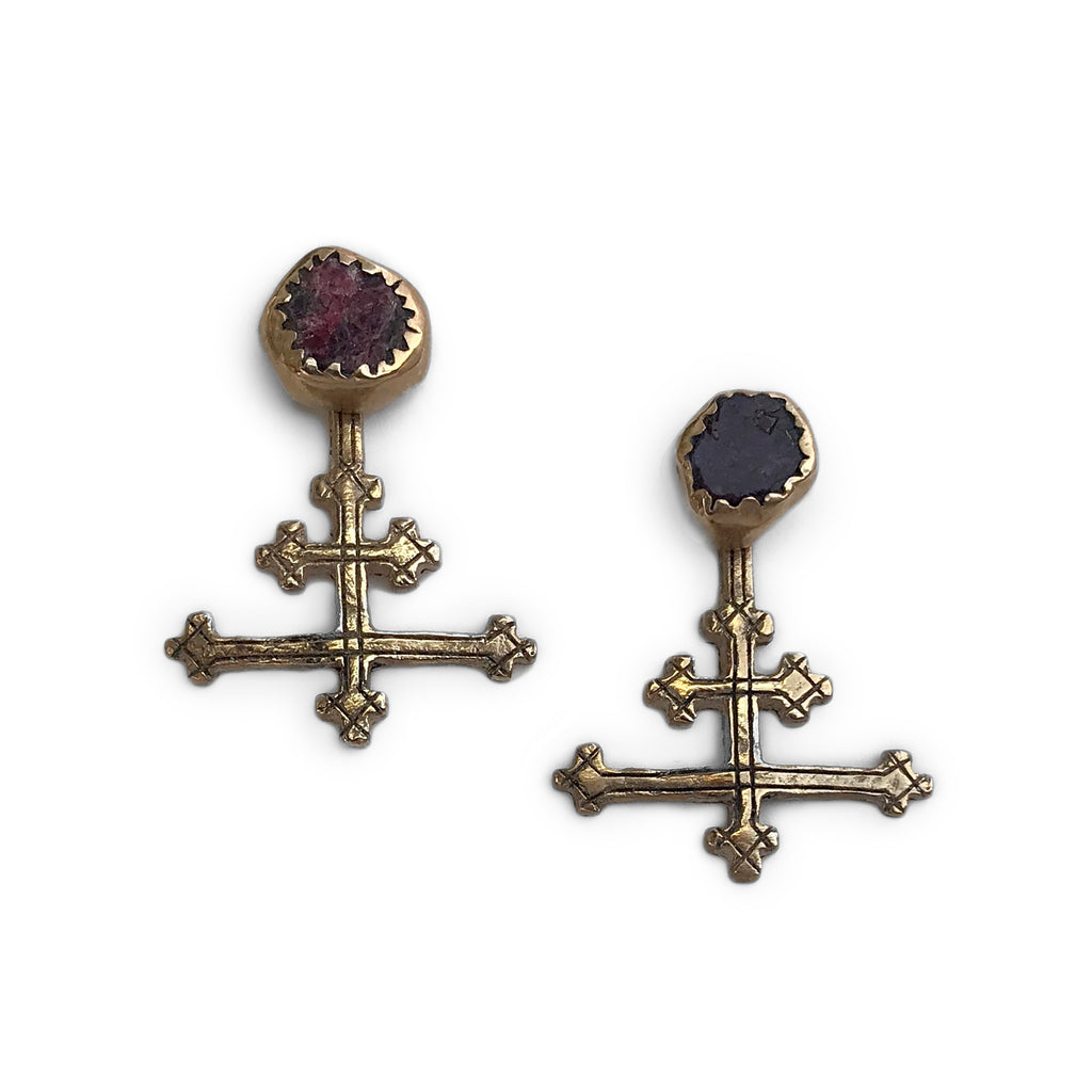The All Saints Long Cross Earrings - Bronze