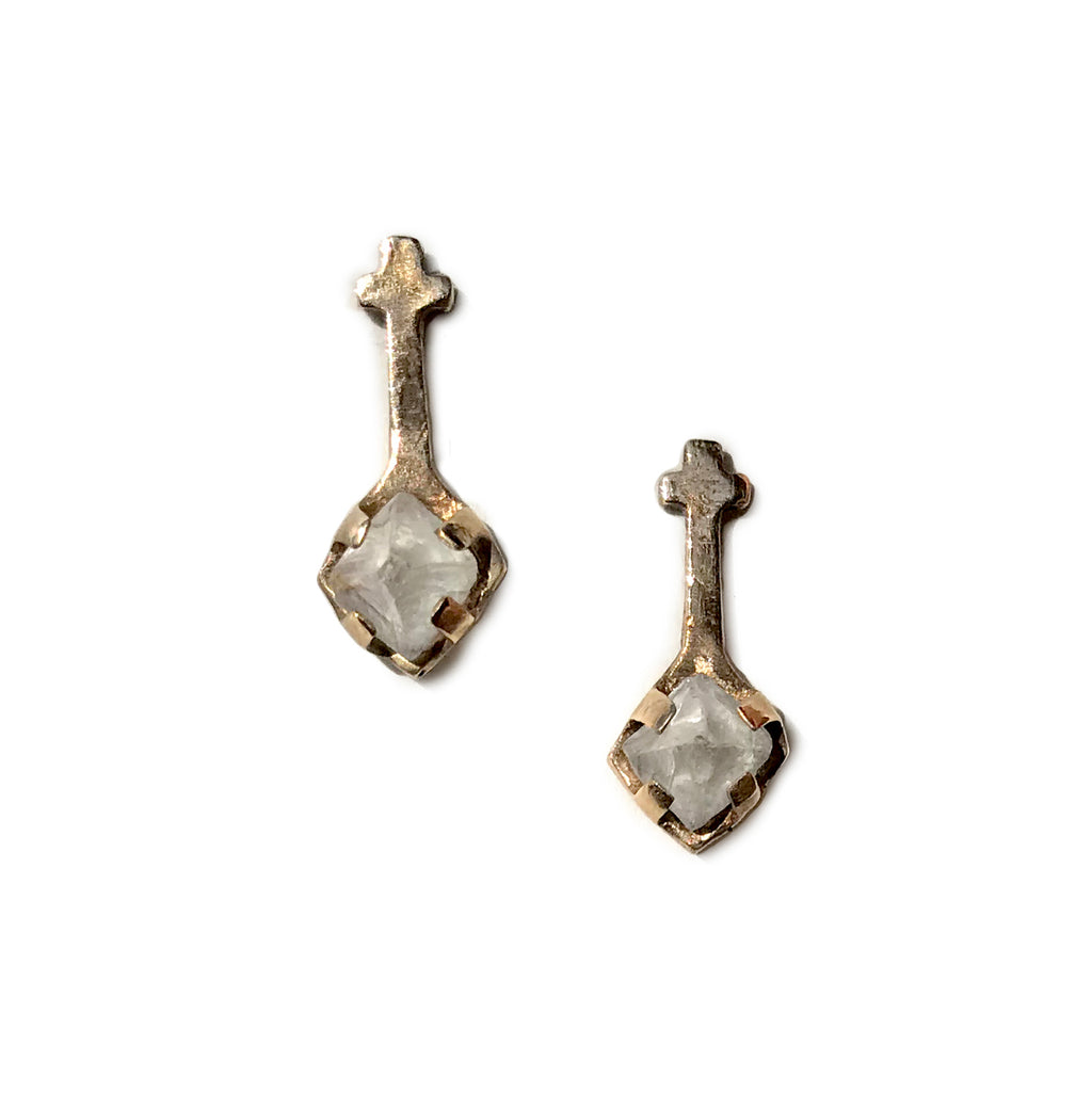 Tear Drop Cross Studs