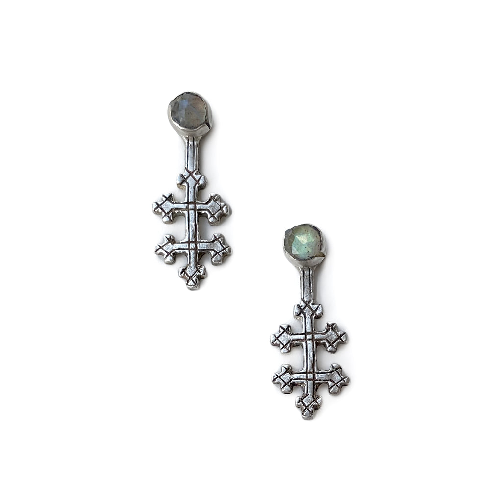 The Original All Saints Cross Earrings - Silver