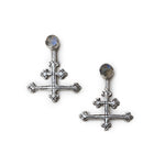 The All Saints Long Cross Earrings - Silver