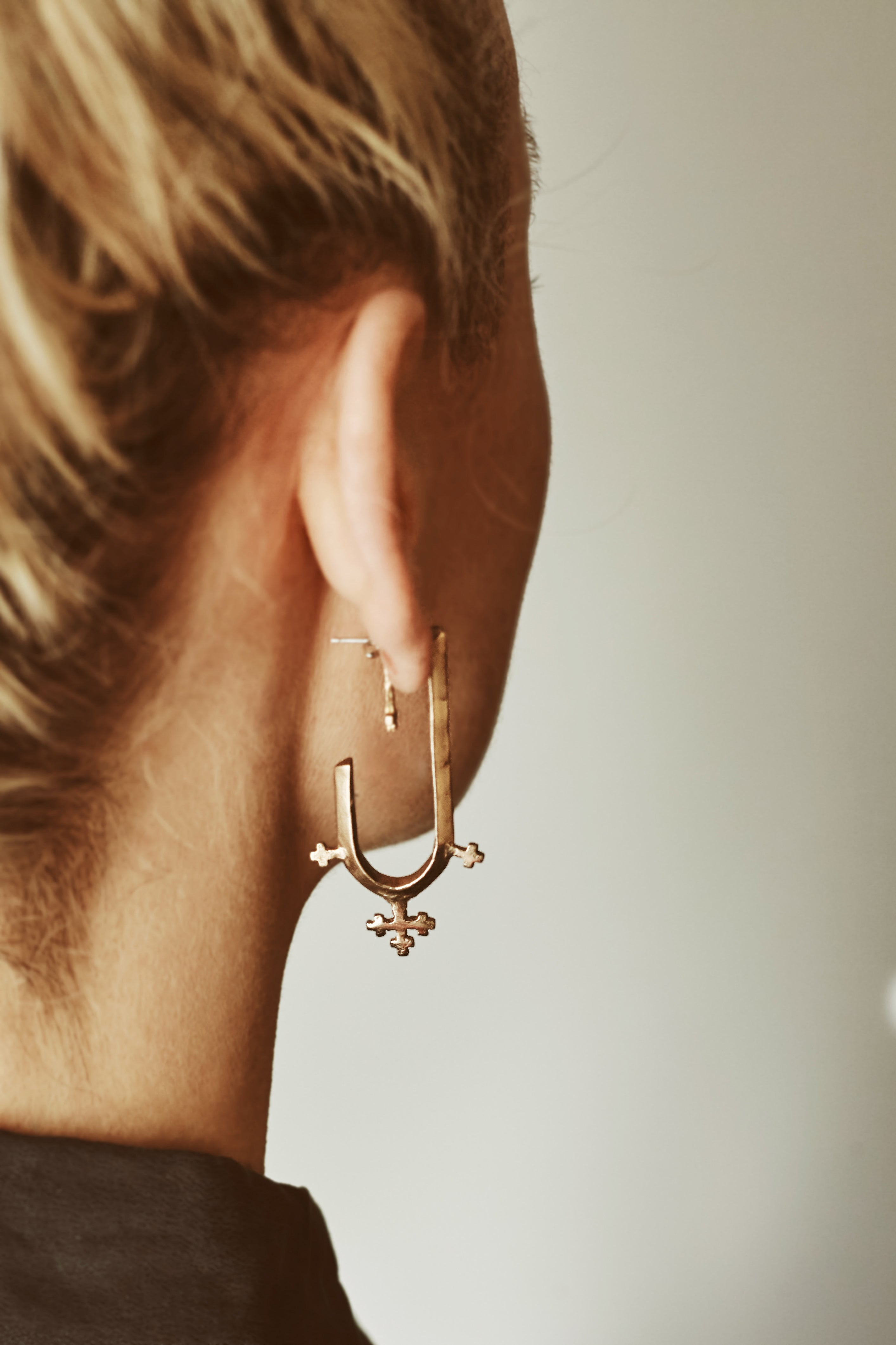 Double Cross Hoop Earrings