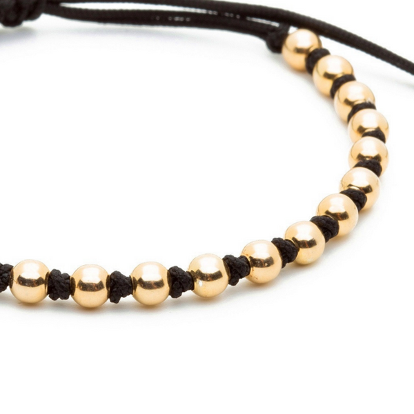 Modalooks-18K-Gold-4mm-Balls-Waxed-Cord-Macrame-Bracelet-Black-Close-Up