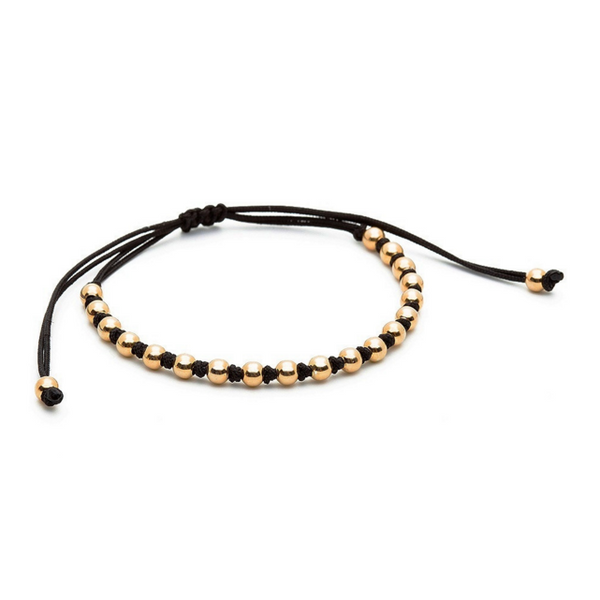 Modalooks-18K-Gold-4mm-Balls-Waxed-Cord-Macrame-Bracelet-Black-Side
