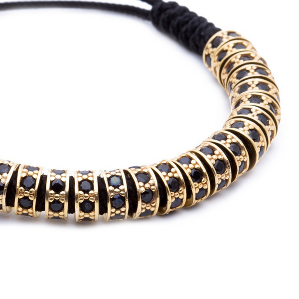 Modalooks 18K Gold Black Diamonds Stoppers Macrame Bracelet - Black Close Up