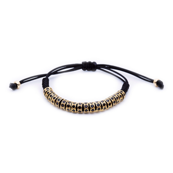 Modalooks 18K Gold Black Diamonds Stoppers Macrame Bracelet - Black Front