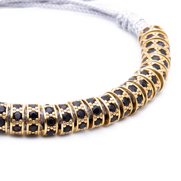 Modalooks 18K Gold Black Diamonds Stoppers Macrame Bracelet - Grey Close Up
