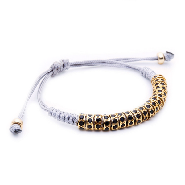 Modalooks 18K Gold Black Diamonds Stoppers Macrame Bracelet - Grey Side