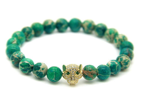Modalooks-18K-Gold-CZ-Leopard-Green-Sea-Sediment-Beads-Bracelet-Front