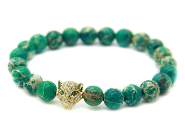 Modalooks-18K-Gold-CZ-Leopard-Green-Sea-Sediment-Beads-Bracelet