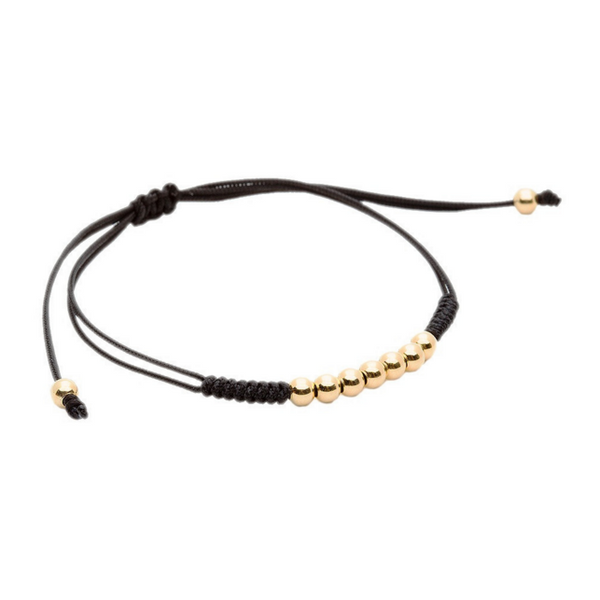 Modalooks-18K-Gold-Plated-4mm-7-Balls-Waxed-Cord-Macrame-Bracelet-Black-Side