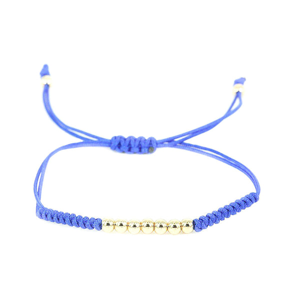 Modalooks-18K-Gold-Plated-4mm-7-Balls-Waxed-Cord-Macrame-Bracelet-Blue