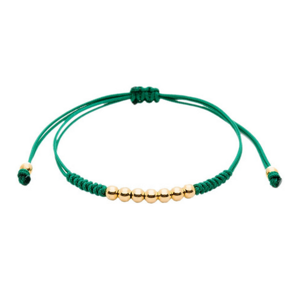 Modalooks-18K-Gold-Plated-4mm-7-Balls-Waxed-Cord-Macrame-Bracelet-Green-Front