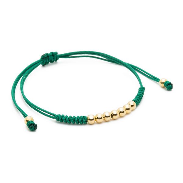 Modalooks-18K-Gold-Plated-4mm-7-Balls-Waxed-Cord-Macrame-Bracelet-Green-Side