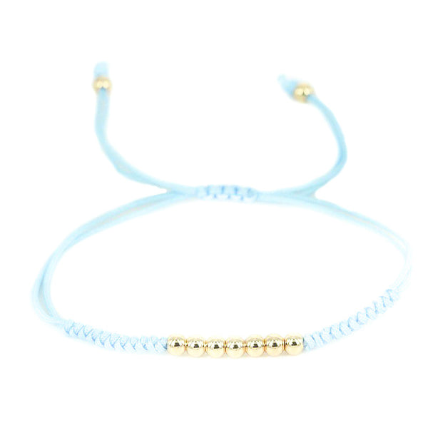 Modalooks-18K-Gold-Plated-4mm-7-Balls-Waxed-Cord-Macrame-Bracelet-Light-Blue