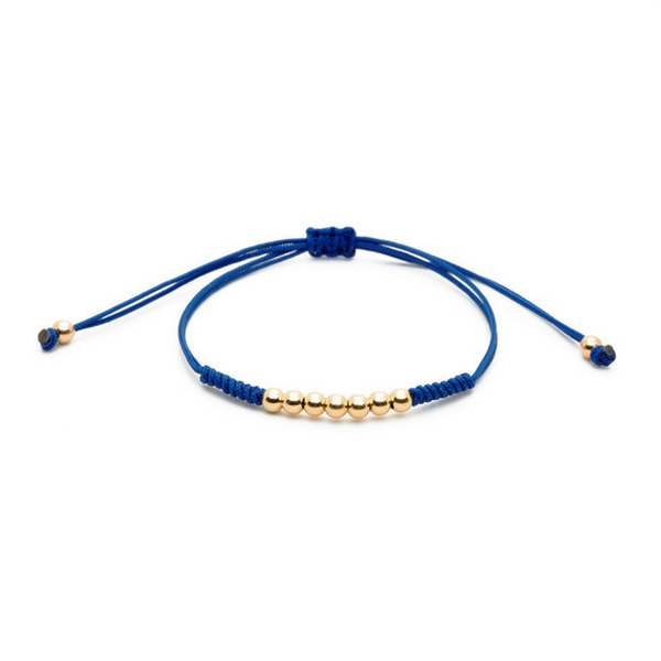 Modalooks-18K-Gold-Plated-4mm-7-Balls-Waxed-Cord-Macrame-Bracelet-Navy-Front
