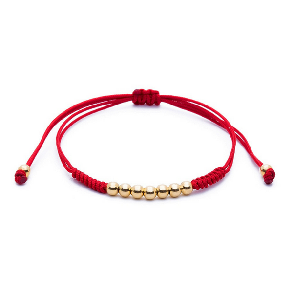 Modalooks-18K-Gold-Plated-4mm-7-Balls-Waxed-Cord-Macrame-Bracelet-Red-Front