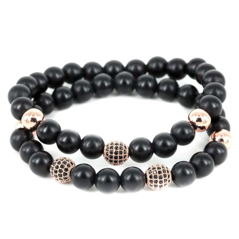 Modalooks-18K-Rose-Gold-Plated-CZ-Diamond-Ball-8mm-Blac-Matte-Agate-Onyx-Beads-Bracelet-Stack