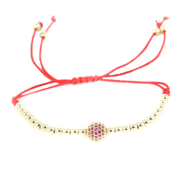 18K-Gold-Plated-Red-Waxed-Cord-4mm-Balls-CZ-Diamonds-Macrame-Bracelet-1ball