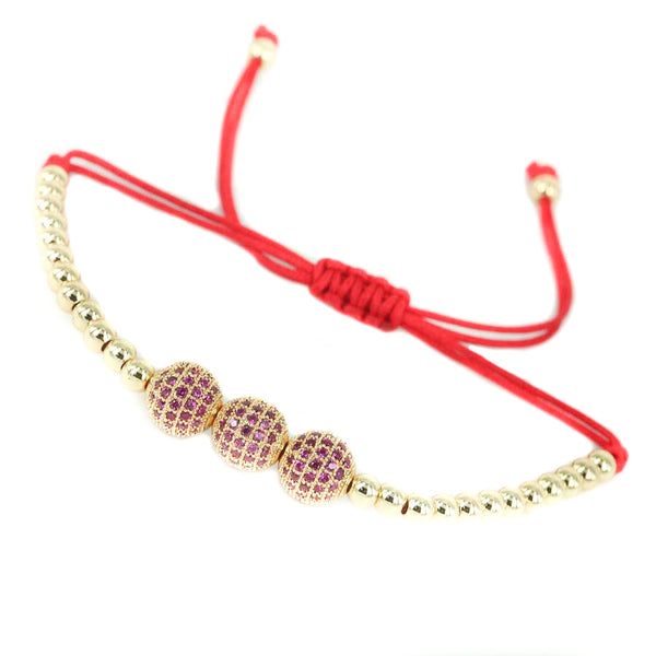 18K-Gold-Plated-Red-Waxed-Cord-4mm-Balls-CZ-Diamonds-Macrame-Bracelet-3balls