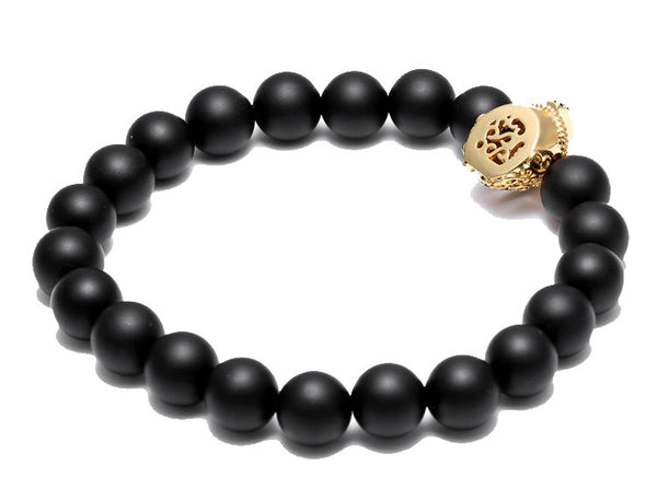 Modalooks 18K-Gold-Spartan-Gladiator-Helmet-Black-Matte-Beads-Bracelet-Bottom-Back-View-