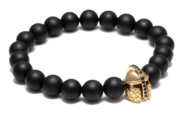 Modalooks-18K-Gold-Spartan-Gladiator-Helmet-Black-Matte-Beads-Bracelet-Side-View