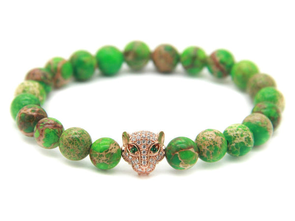 Modalooks-18K-Rose-Gold-CZ-Leopard-Green-Sea-Sediment-Beads-Bracelet