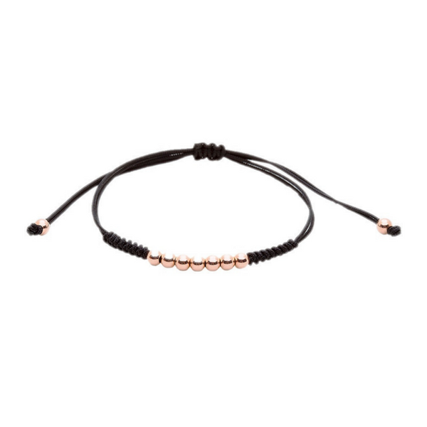 Modalooks-18K-Rose-Gold-Plated-4mm-7-Balls-Waxed-Cord-Macrame-Bracelet-Black-Front