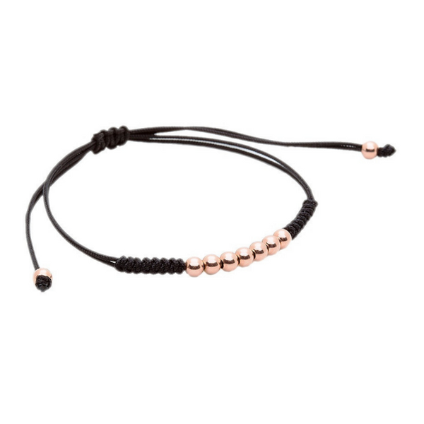 Modalooks-18K-Rose-Gold-Plated-4mm-7-Balls-Waxed-Cord-Macrame-Bracelet-Black-Side