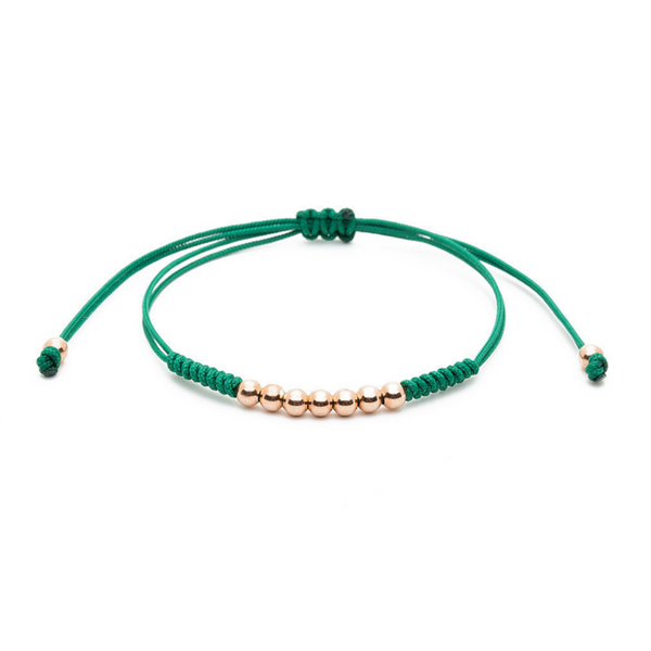 Modalooks-18K-Rose-Gold-Plated-4mm-7-Balls-Waxed-Cord-Macrame-Bracelet-Green-Front