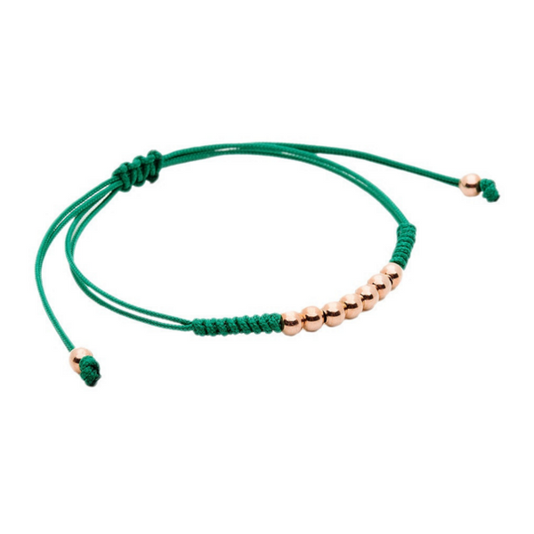 Modalooks-18K-Rose-Gold-Plated-4mm-7-Balls-Waxed-Cord-Macrame-Bracelet-Green-Side
