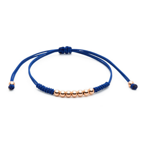 Modalooks-18K-Rose-Gold-Plated-4mm-7-Balls-Waxed-Cord-Macrame-Bracelet-Navy-Front