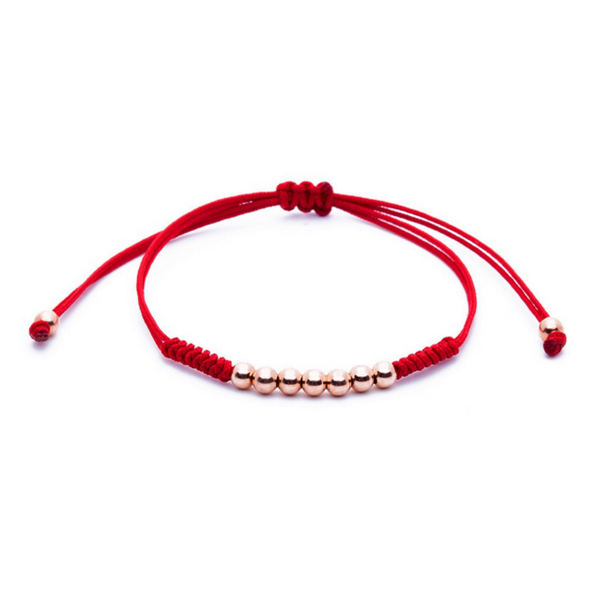 Modalooks-18K-Rose-Gold-Plated-4mm-7-Balls-Waxed-Cord-Macrame-Bracelet-Red-Front