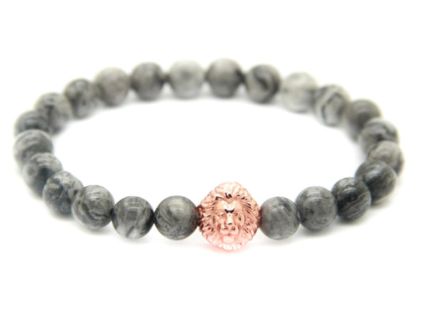 Modalooks-18K-Rose-Gold-Plated-Lion-Head-Grey-Jasper-Beads-Bracelet