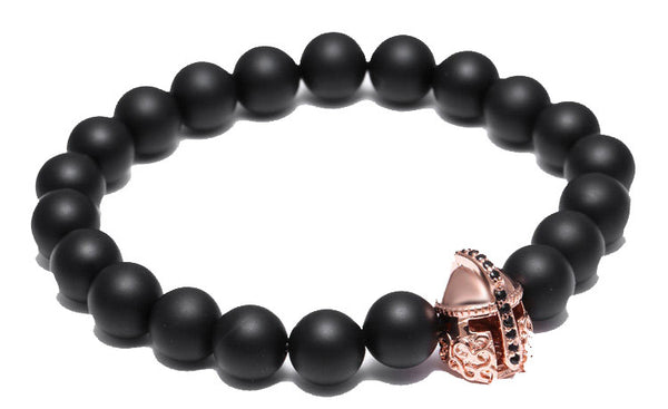 Modalooks-18K-Rose-Gold-Spartan-Gladiator-Helmet-Black-Matte-Beads-Bracelet-Side-View