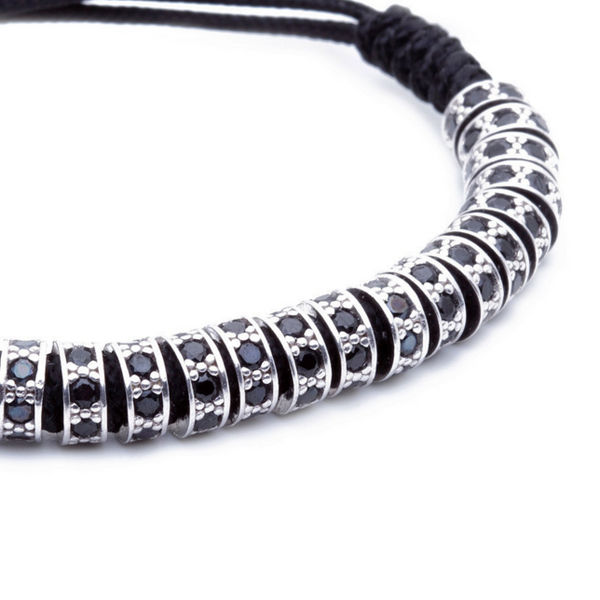 Modalooks 18K White Gold Black Diamonds Stoppers Macrame Bracelet - Black Close Up