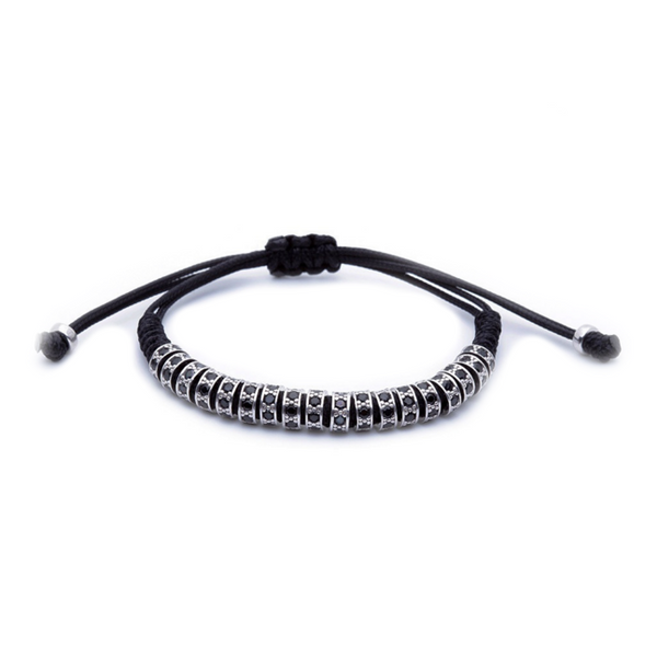 Modalooks 18K White Gold Black Diamonds Stoppers Macrame Bracelet - Black Front