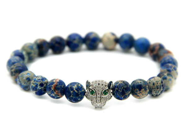 Modalooks-18K-White-Gold-CZ-Leopard-Blue-Sea-Sediment-Beads-Bracelet