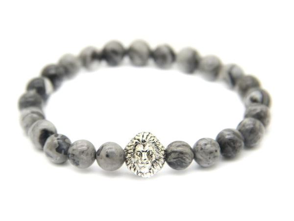 Modalooks-18K-White-Gold-Plated-Lion-Head-Grey-Jasper-Beads-Bracelet