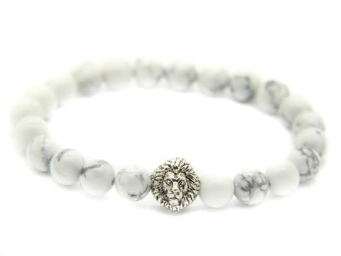 Modalooks-18K-White-Gold-Plated-Lion-Head-Howlite-Beads-Bracelet