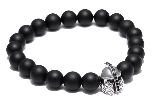 Modalooks-18K-White-Gold-Spartan-Gladiator-Helmet-Black-Matte-Beads-Bracelet-Side-View