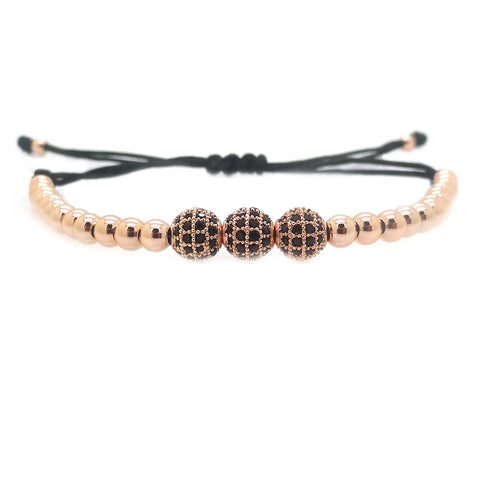 Modalooks-3-CZ-Diamond-Ball-8mm-4mm-18K-Rose-Gold-Plated-Macrame-Bracelet