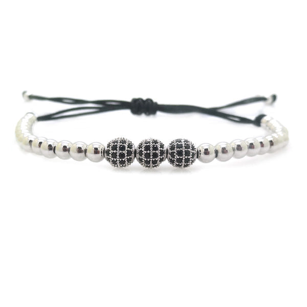 Modalooks-3-CZ-Diamond-Ball-8mm-4mm-18K-White-Gold-Plated-Macrame-Bracelet