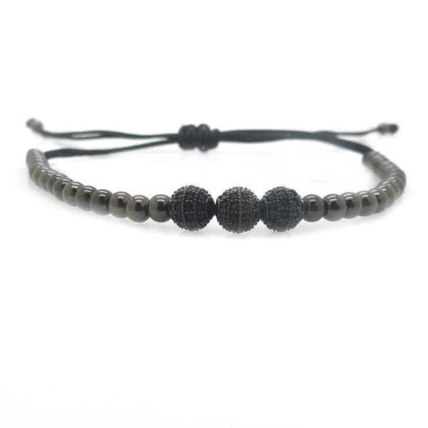 Modalooks-3-CZ-Diamond-Ball-8mm-4mm-Ruthenium-Plated-Macrame-Bracelet