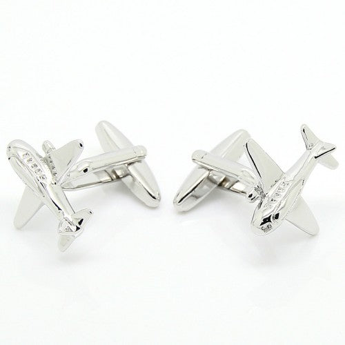 Airplane-Silver-Modalooks-Cufflinks