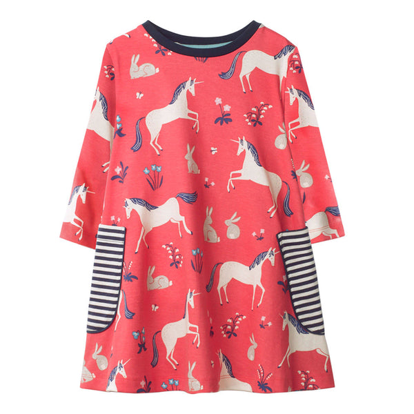 Bambinilooks-Bambini-Kidslooks-Kids-Girls-Dress-Long-Sleeve-Happy-Unicorn